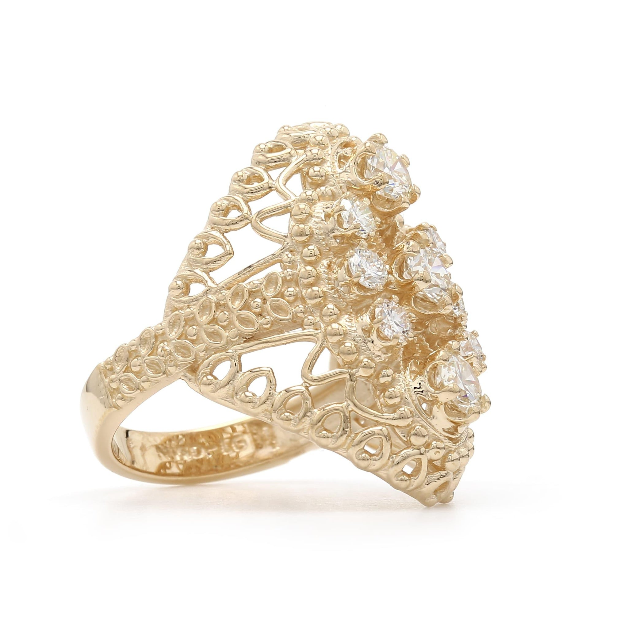 1.25 Ct. T.W. Lab-Grown Diamond Cluster Ring 14K Yellow Gold