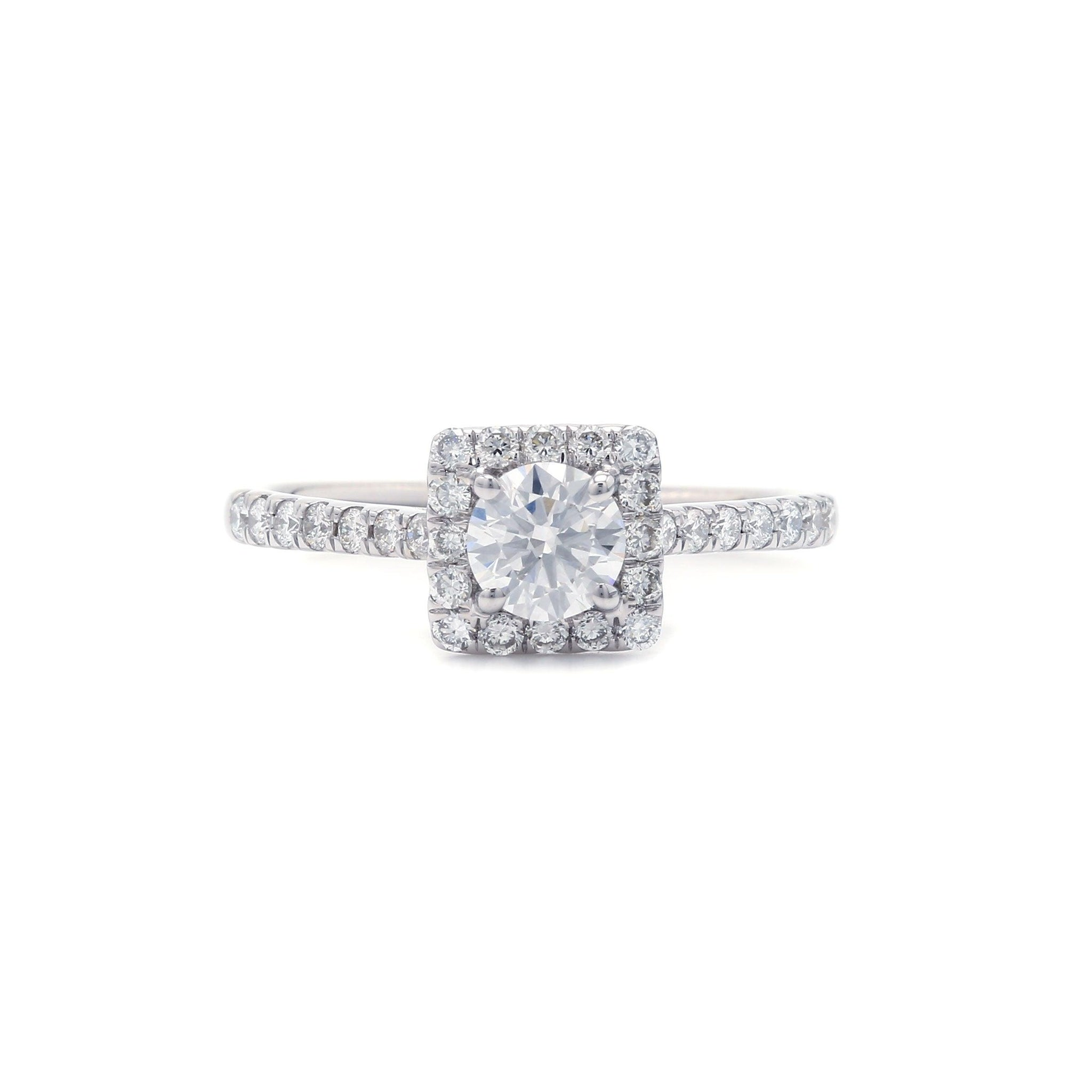 0.89 Ct. T.W. Lab-Grown IGI Certified Diamond 14K White Gold Ring (Center: 0.50 Ct. H VVS2)