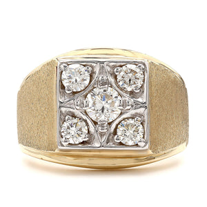 1.00 Ct. T.W. Lab-Grown Diamond Men's Ring 14K Yellow Gold