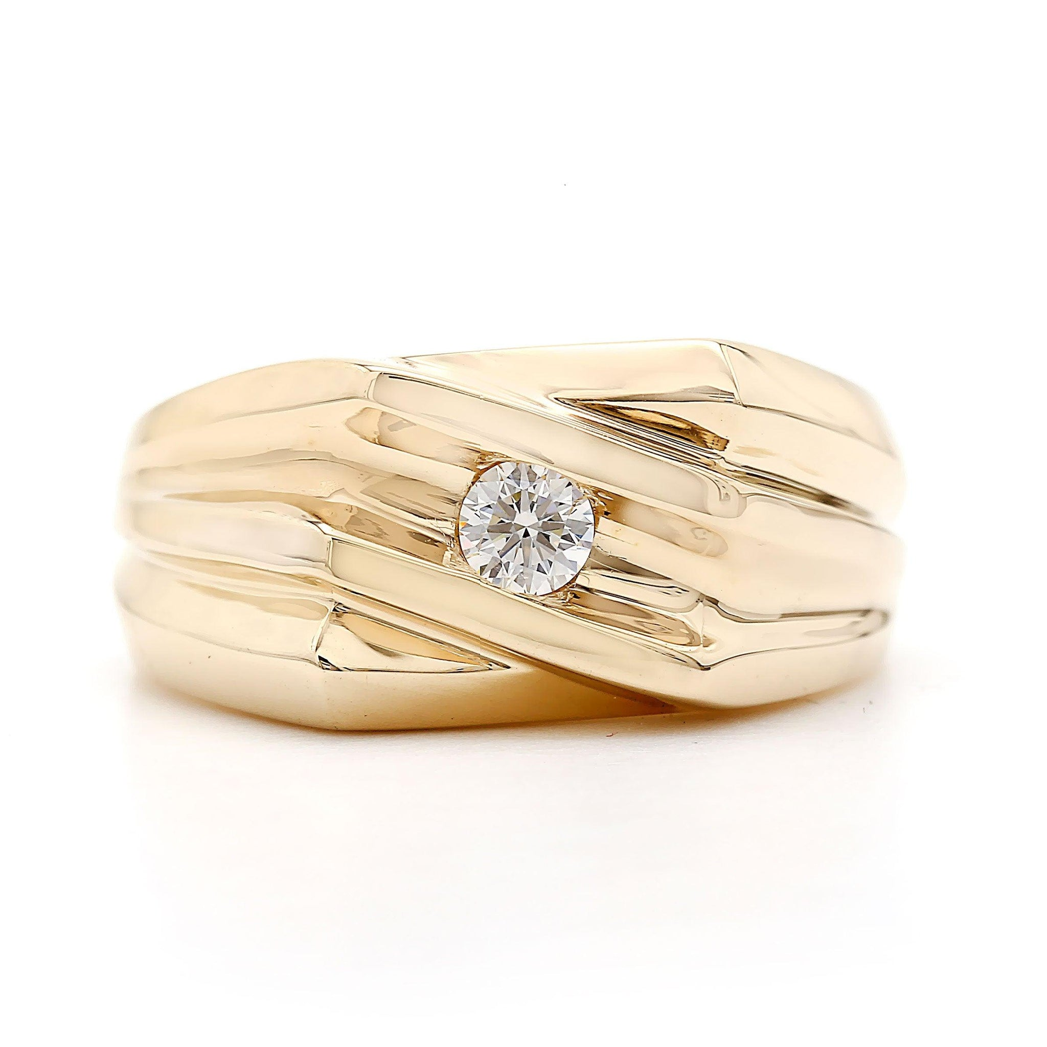 1/5 Ct. T.W. Lab-Grown Diamond Men's Ring 14K Yellow Gold