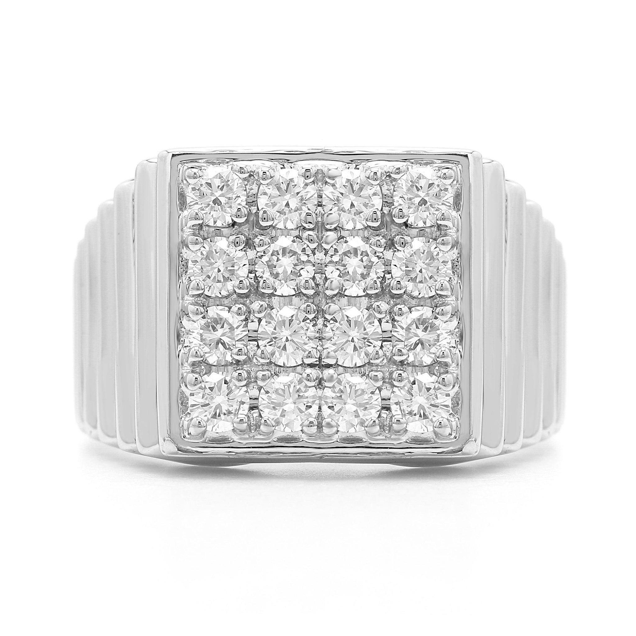 1.00 Ct. T.W. Lab-Grown Diamond Men's Ring 14K White Gold