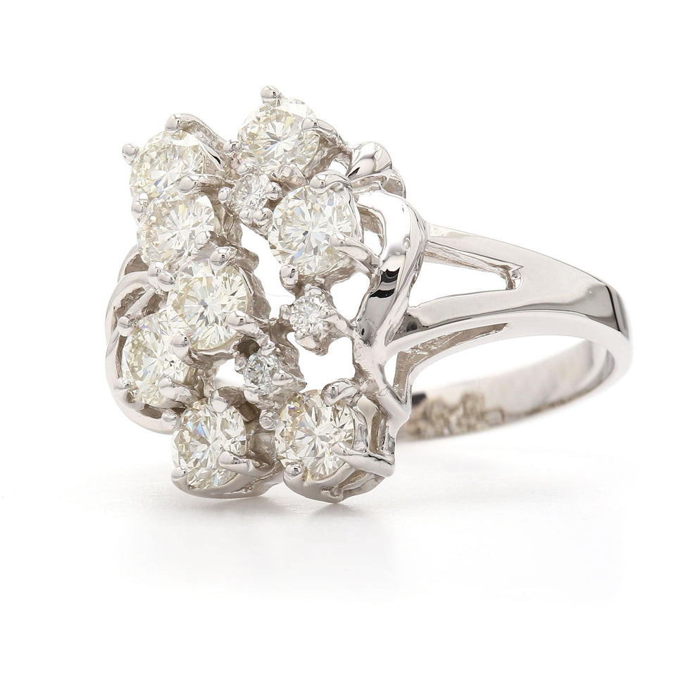 1.60 Ct. T.W. Lab Grown Diamond Cluster Ring 14K White Gold