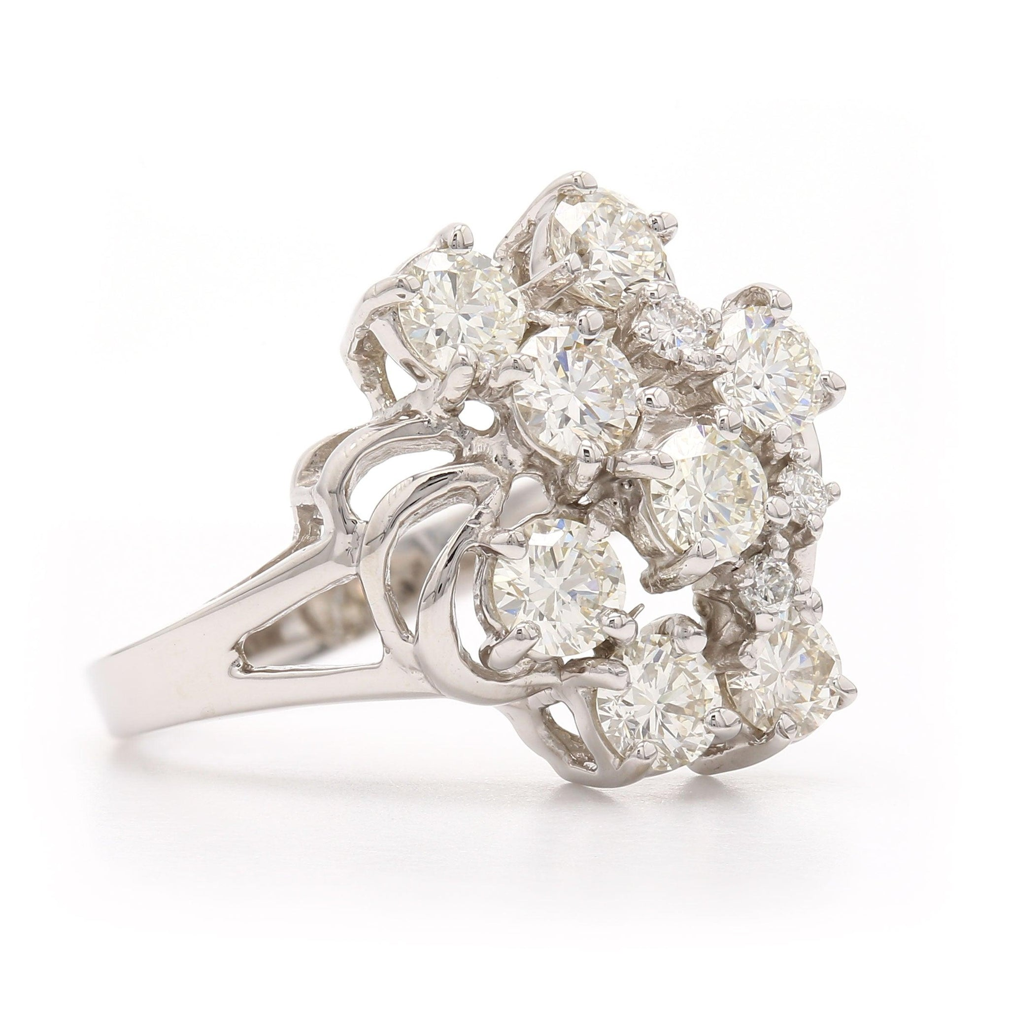 1.60 Ct. T.W. Lab-Grown Diamond Cluster Ring 14K White Gold