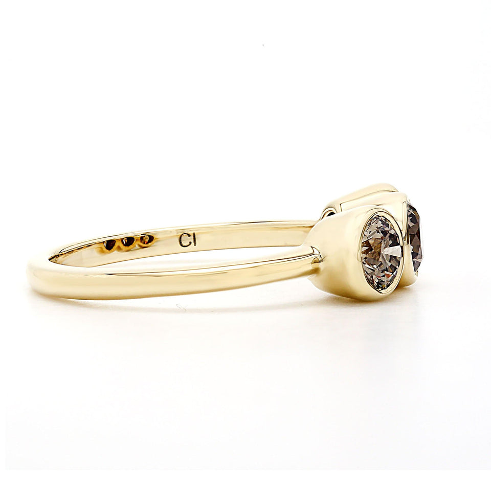 1.00 Ct. T.W. Lab-Grown Olive Diamond Bezel Ring 14K Yellow Gold