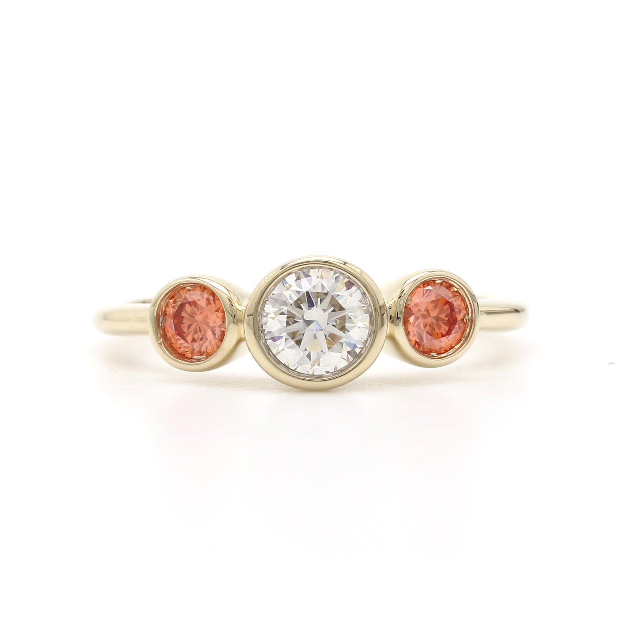 3/4 Ct. T.W. Lab-Grown Orange And White Diamond Bezel Ring 14K Yellow Gold