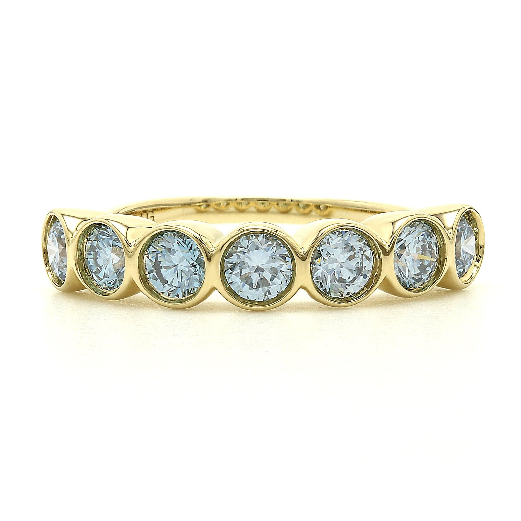 1 1/2 Ct. T.W. Lab-Grown Ice Blue Diamond 7 Stone Bezel Ring 14K Yellow Gold