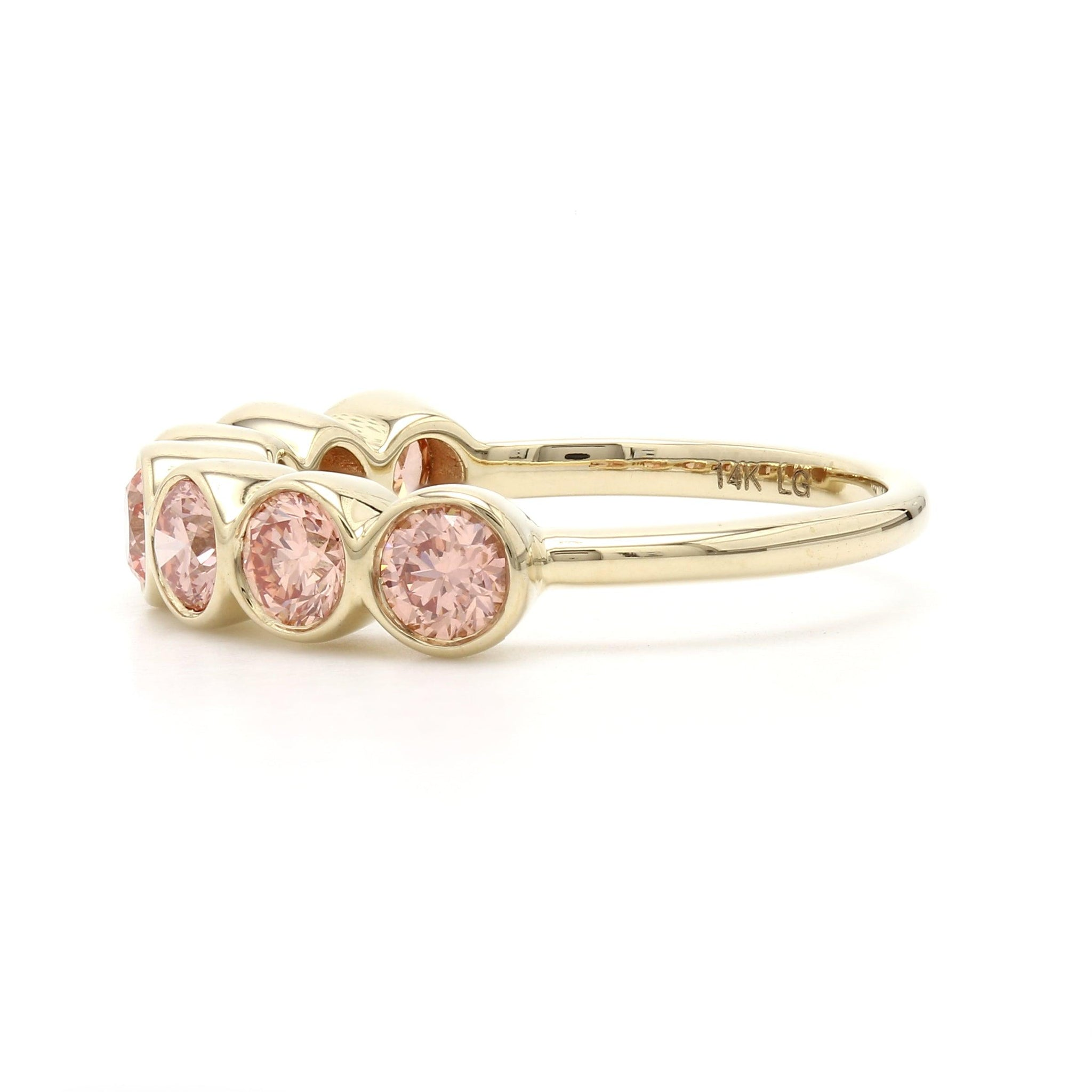 1 1/2 Ct. T.W. Lab-Grown Pink Diamond 7 Stone Bezel Ring 14K Yellow Gold
