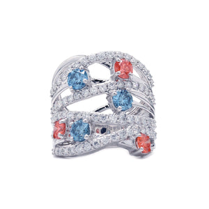 3 1/5 Ct. T.W. Lab-Grown Multi Color And White Diamond 14K White Gold Ring