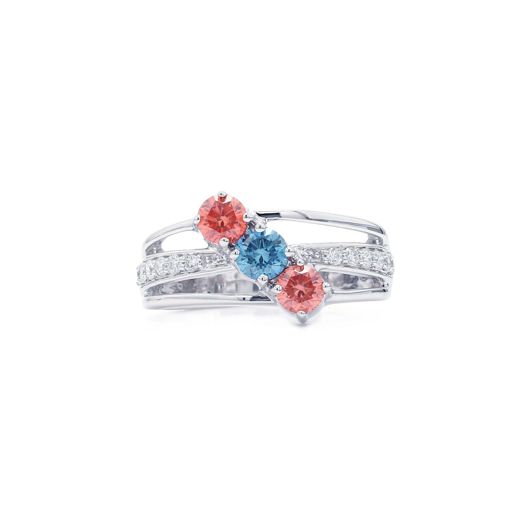1 1/10 Ct. T.W. Lab-Grown Multi Color And White Diamond 14K White Gold Ring