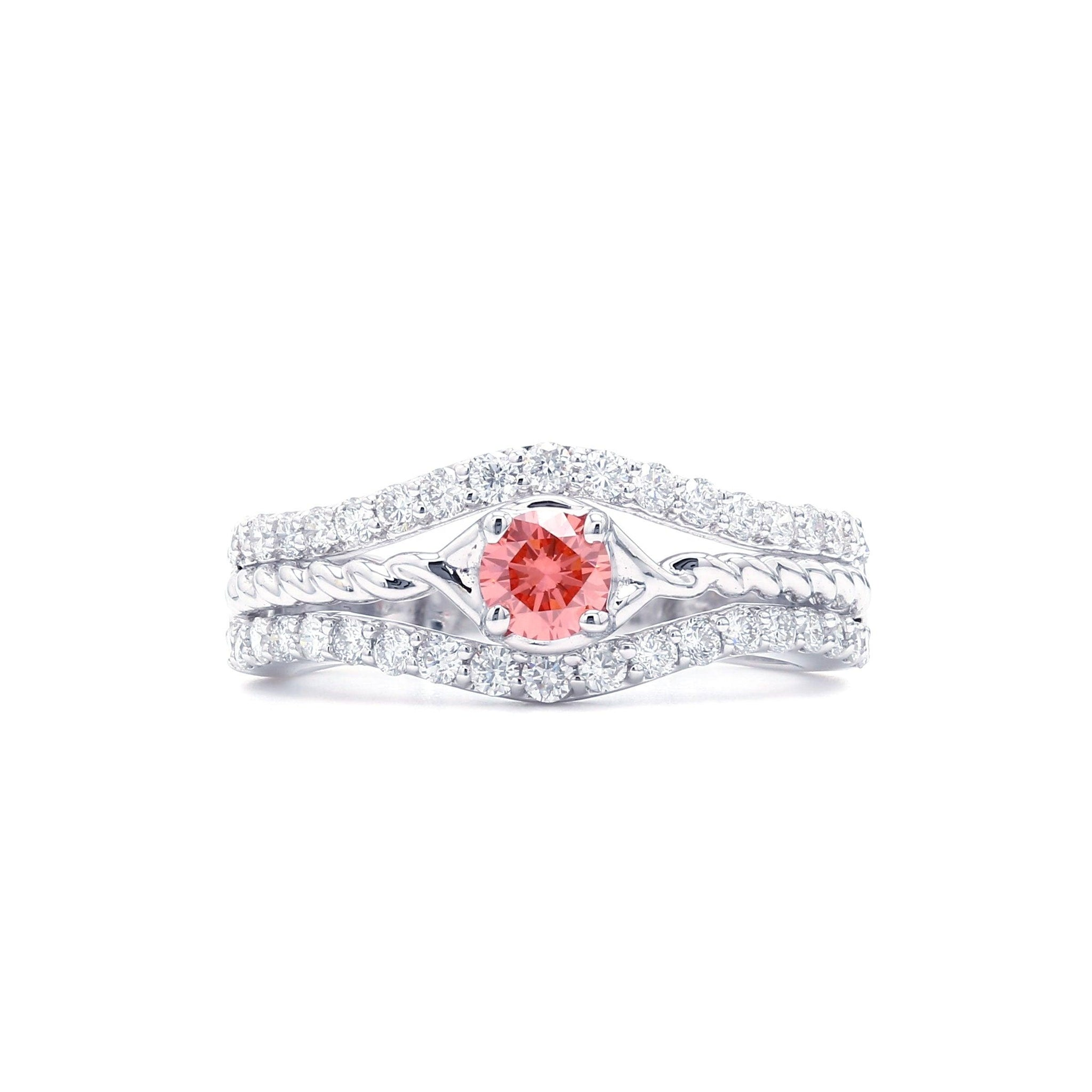 1.00 Ct. T.W. Lab-Grown Pink And White Diamond 14K White Gold Ring (Center: 1/3Ct)