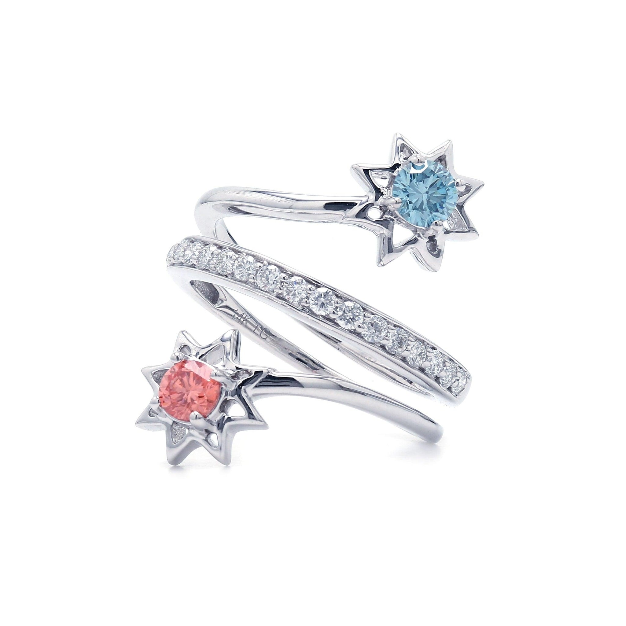0.80 Ct. T.W. Lab-Grown Multi Color And White Diamond 14K White Gold Star Ring