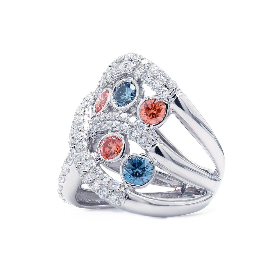 3 3/4 Ct. T.W. Lab-Grown Multi Color And White Diamond 14K White Gold Ring