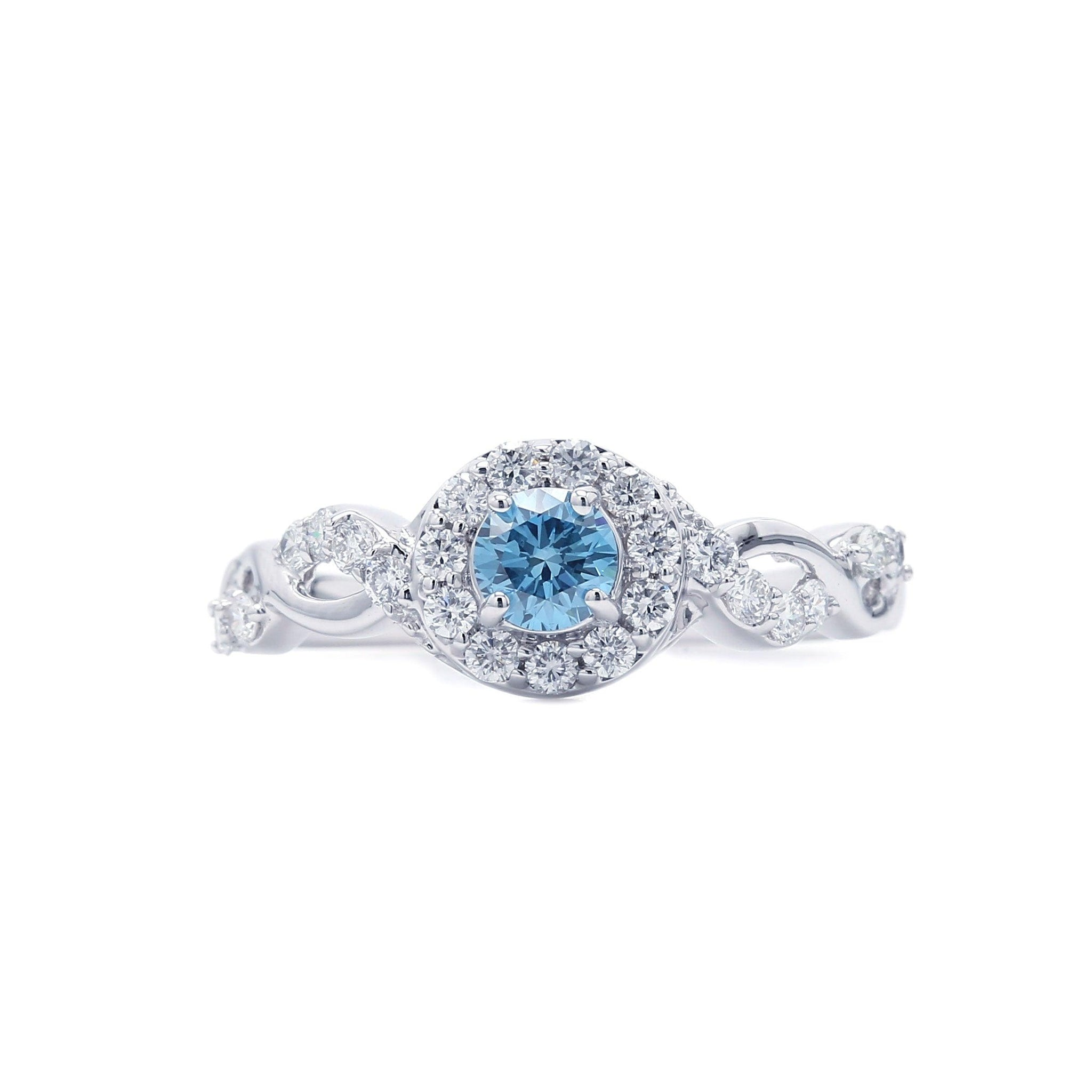 3/4 Ct. T.W. Lab-Grown Ice Blue And White Diamond 14K Gold Ring (Center: 1/3Ct)