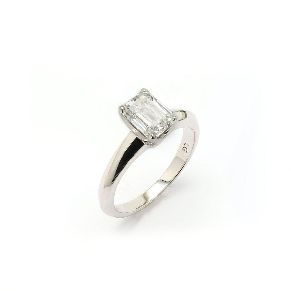 14K Gold Emerald Cut Solitaire