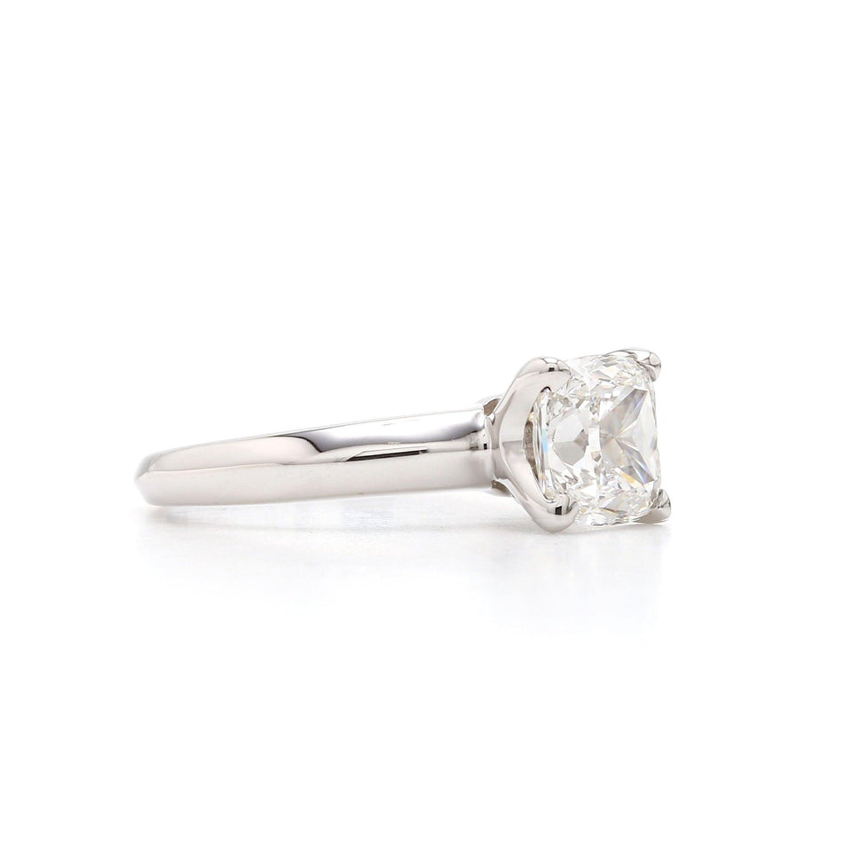 14K Gold Solitaire Cushion Cut