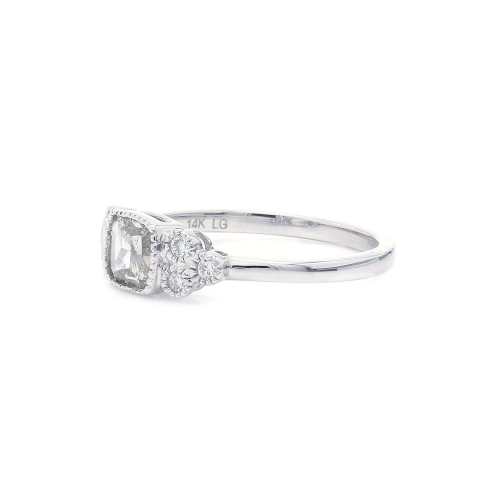 0.65 Ct. T.W. Lab Grown Rose Cut Diamond Vintage Ring 14K White Gold