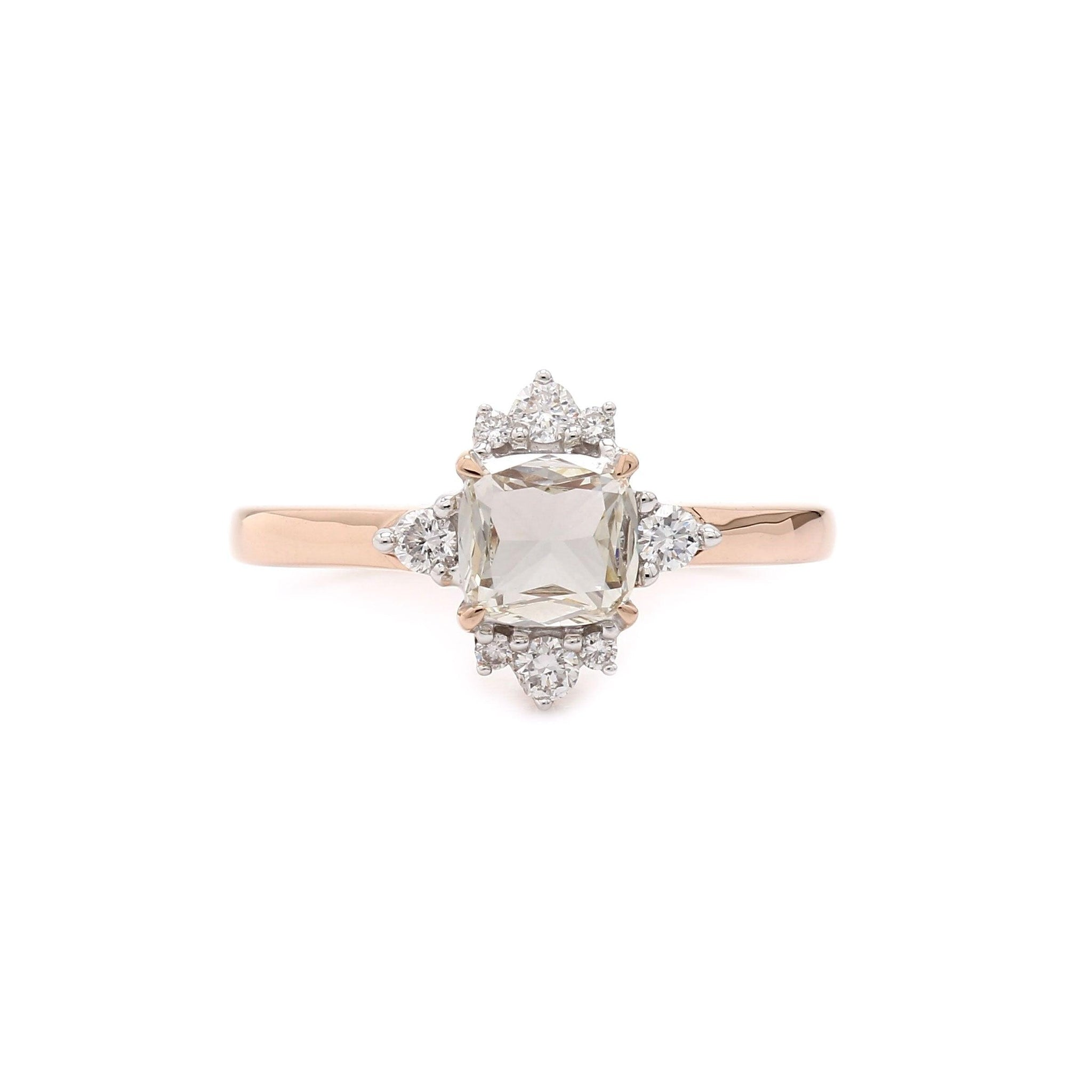 0.87 Ct. T.W. Lab-Grown Rose Cut Diamond Vintage Ring 14K Rose Gold