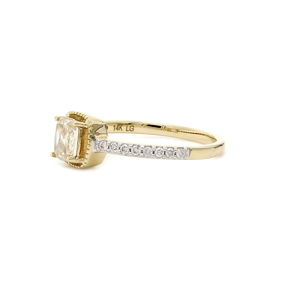 0.70 Ct. T.W. Lab Grown Rose Cut Diamond Vintage Ring 14K Yellow Gold
