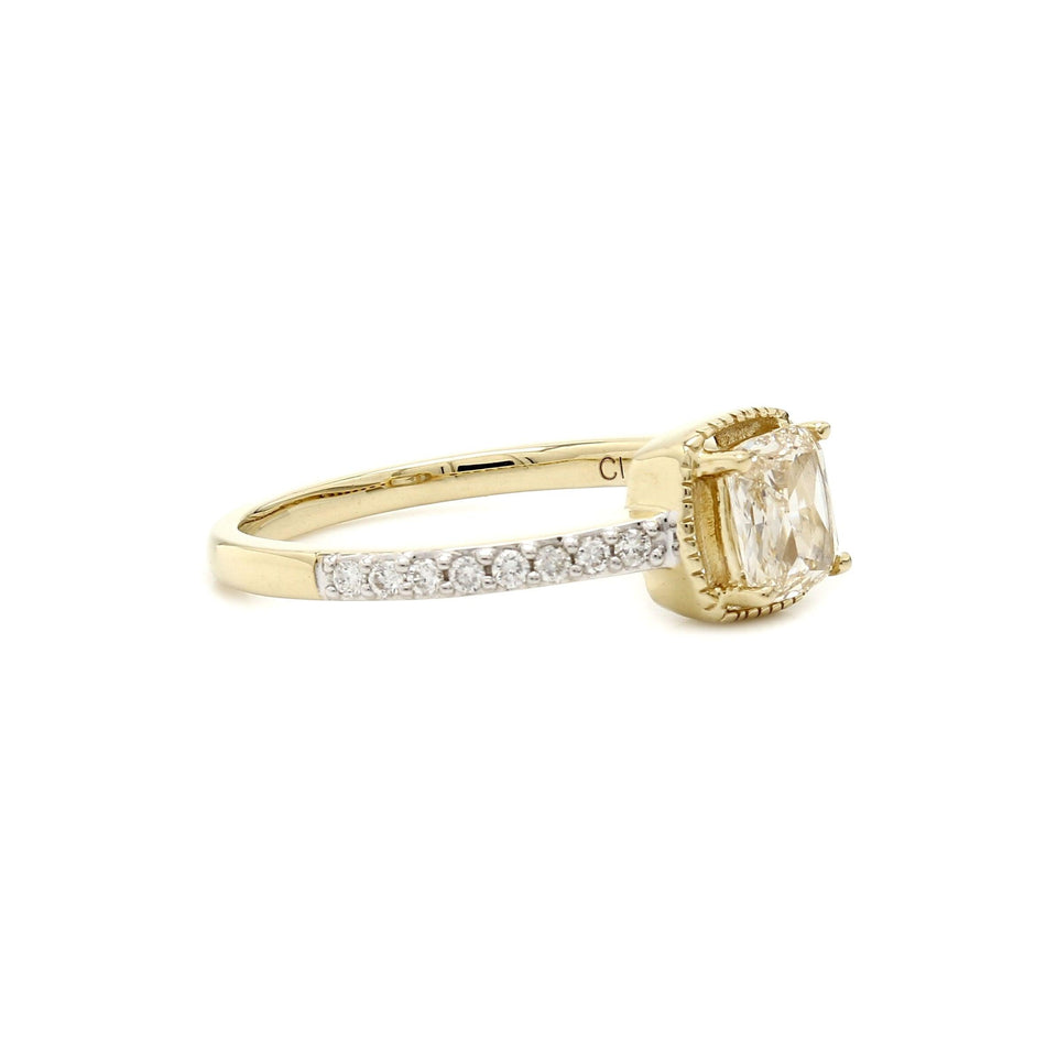 0.70 Ct. T.W. Lab-Grown Rose Cut Diamond Vintage Ring 14K Yellow Gold