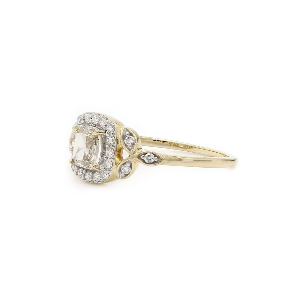 3/4 Ct. T.W. Lab Grown Rose Cut Diamond Vintage Ring 14K Yellow Gold