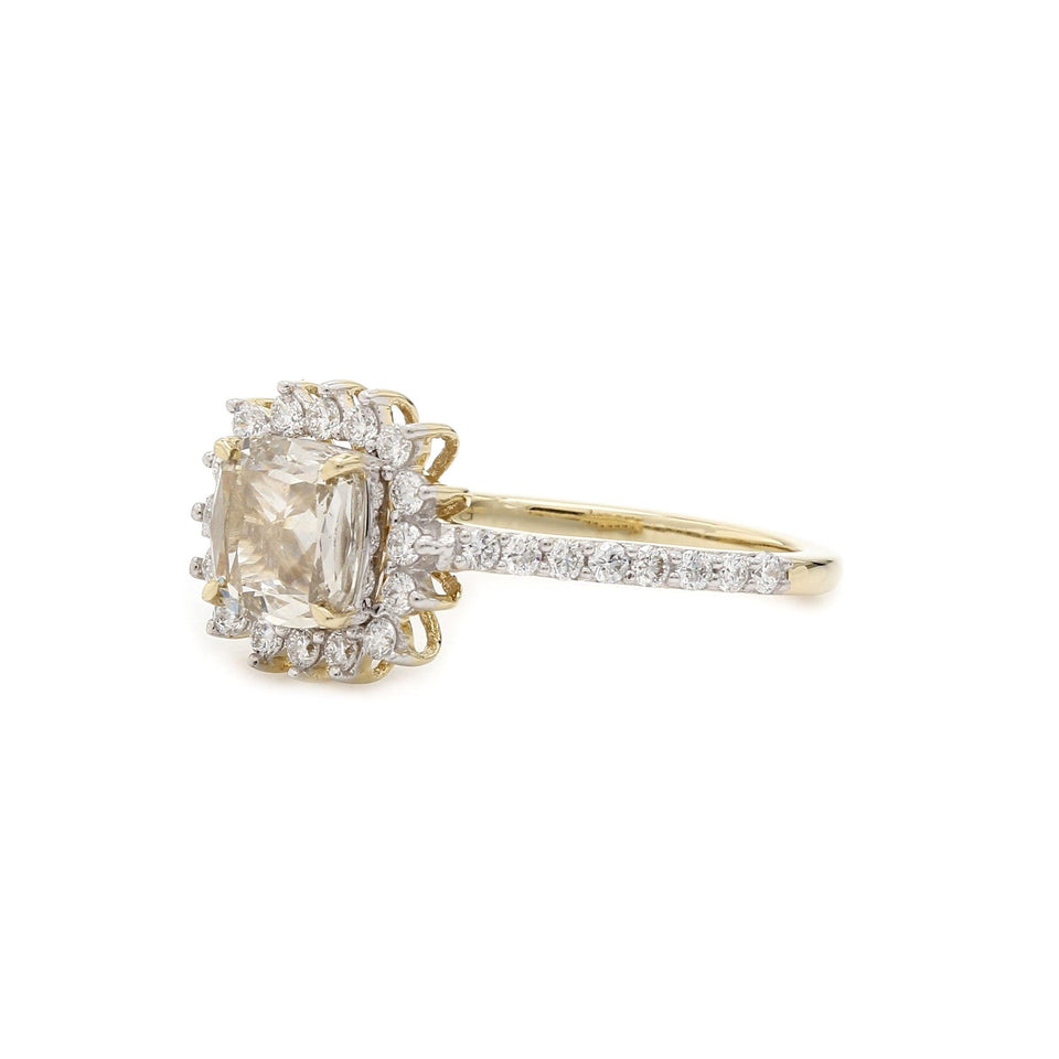 1.10 Ct. T.W. Lab Grown Rose Cut Diamond Vintage Ring 14K Yellow Gold