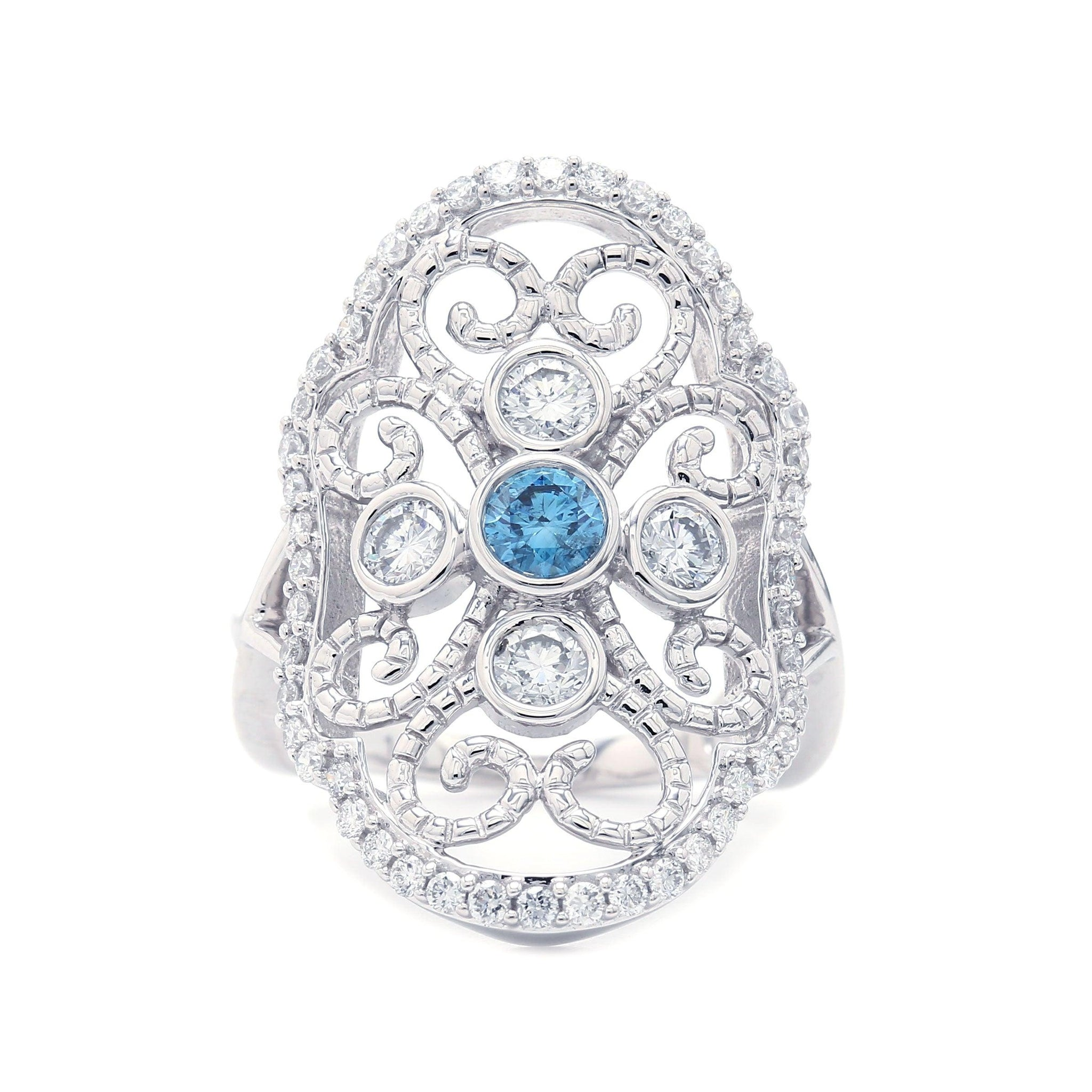 1 1/4 Ct. T.W. Royal Blue and White Lab-Grown Diamond Vintage Ring 14K White Gold
