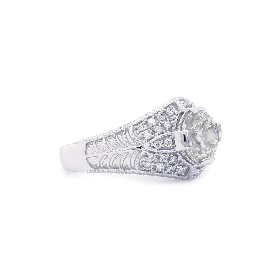 2 1/2 Ct. T.W. Lab Grown Rose Cut Diamond Vintage Ring 14K White Gold