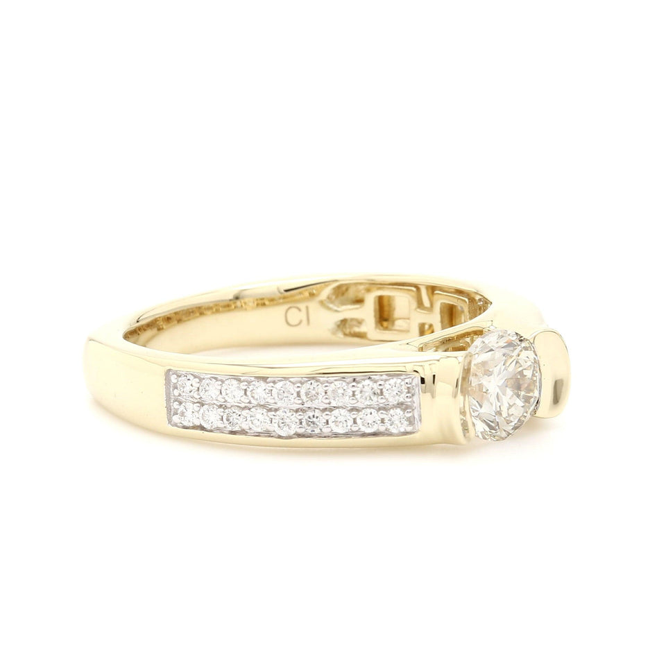 1.36 Ct. T.W. Lab Grown Diamond Men's Ring 14K Yellow Gold