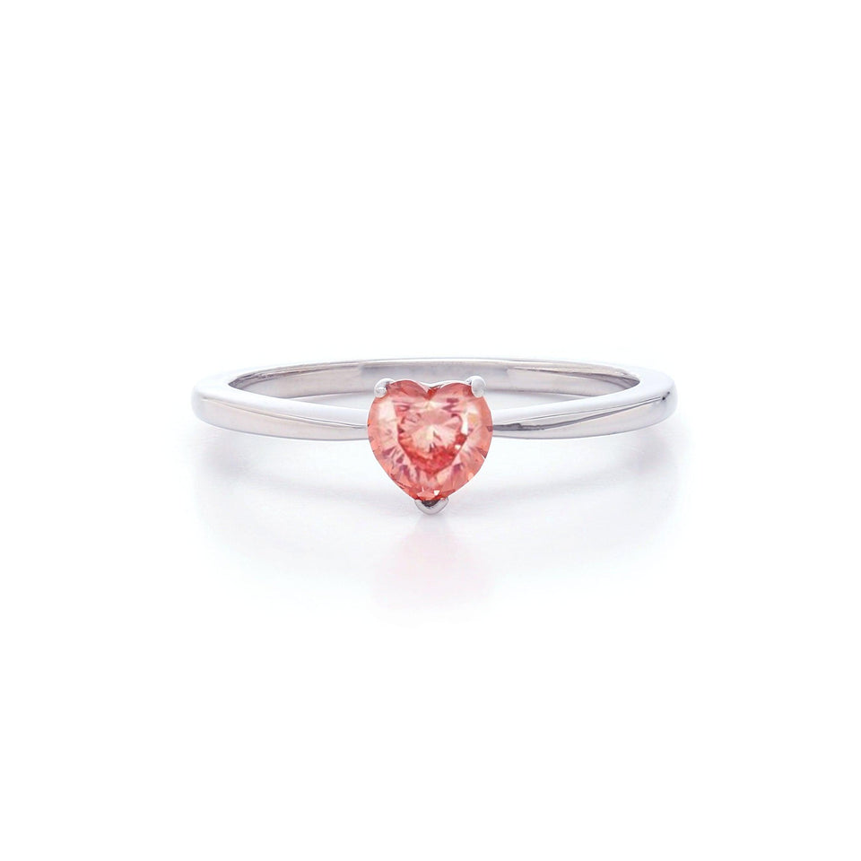 1/2 Ct. T.W. Lab Grown Pink Diamond Heart Solitaire Ring 14K White Gold