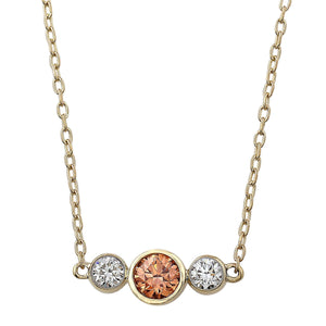 3/4 Ct. T.W. Orange And White Lab-Grown Diamond Bezel 14K Yellow Gold Necklace