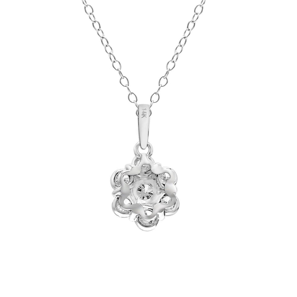 1.00 Ct. T.W. Lab-Grown Diamond Flower 14K Gold Pendant