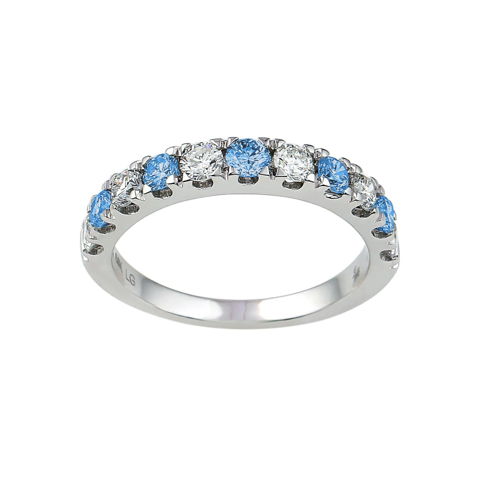 1.00Ct. T.W. Royal Blue And White Lab-Grown Diamond Ring 14K White Gold