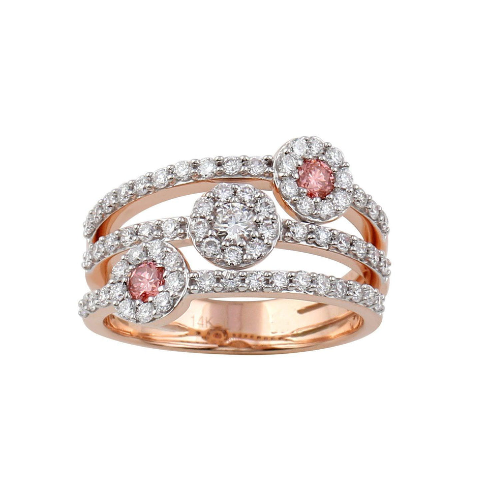 1.00 Ct. T.W. Pink And White Lab-Grown Diamond Ring 14K Rose Gold