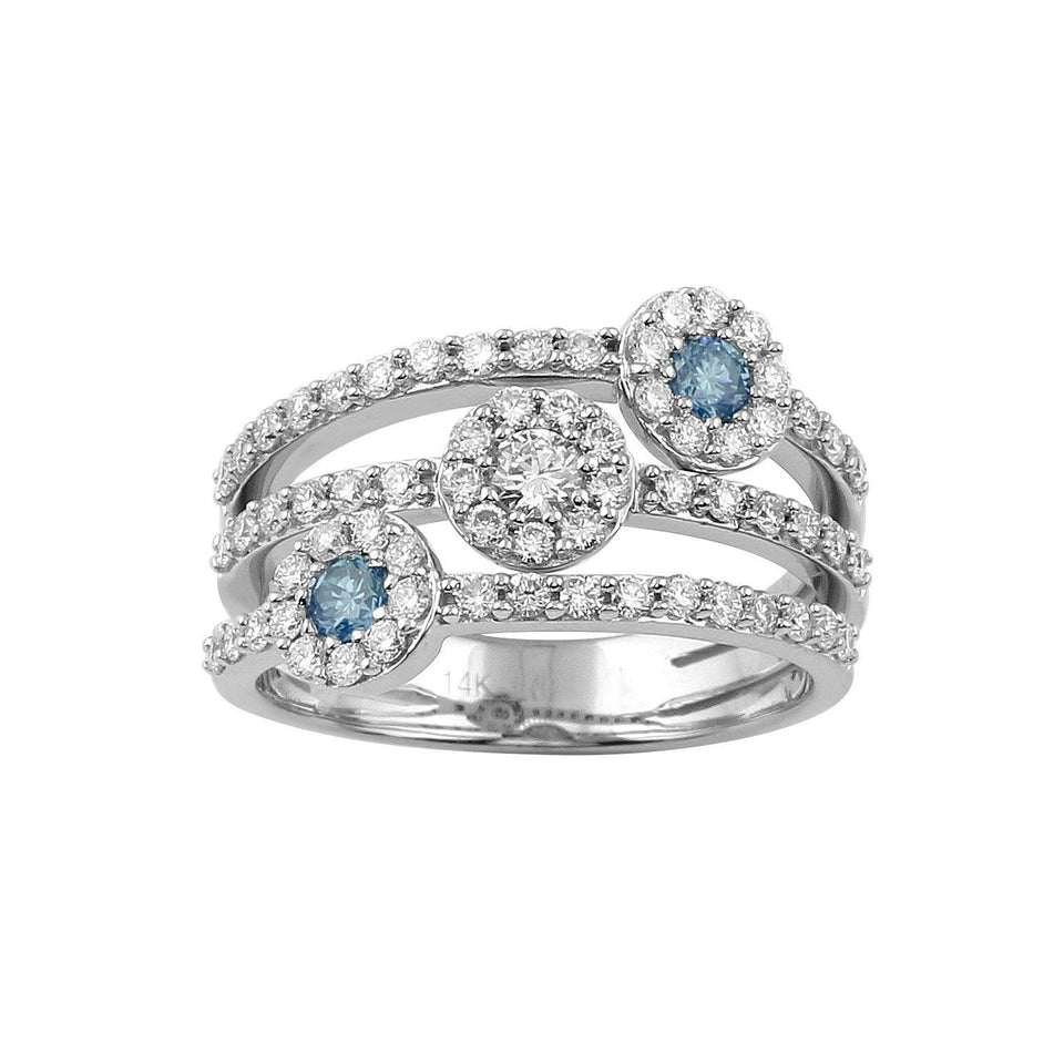 1.00 Ct. T.W. Royal Blue and White Lab-Grown Diamond Ring 14K White Gold