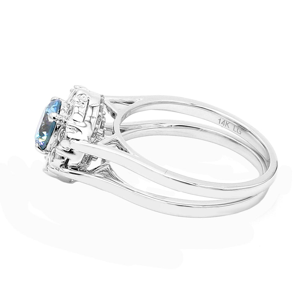1 1/2 Ct. T.W. Lab-Grown Blue, Pink And White Diamond 14K White Gold Reversible Ring