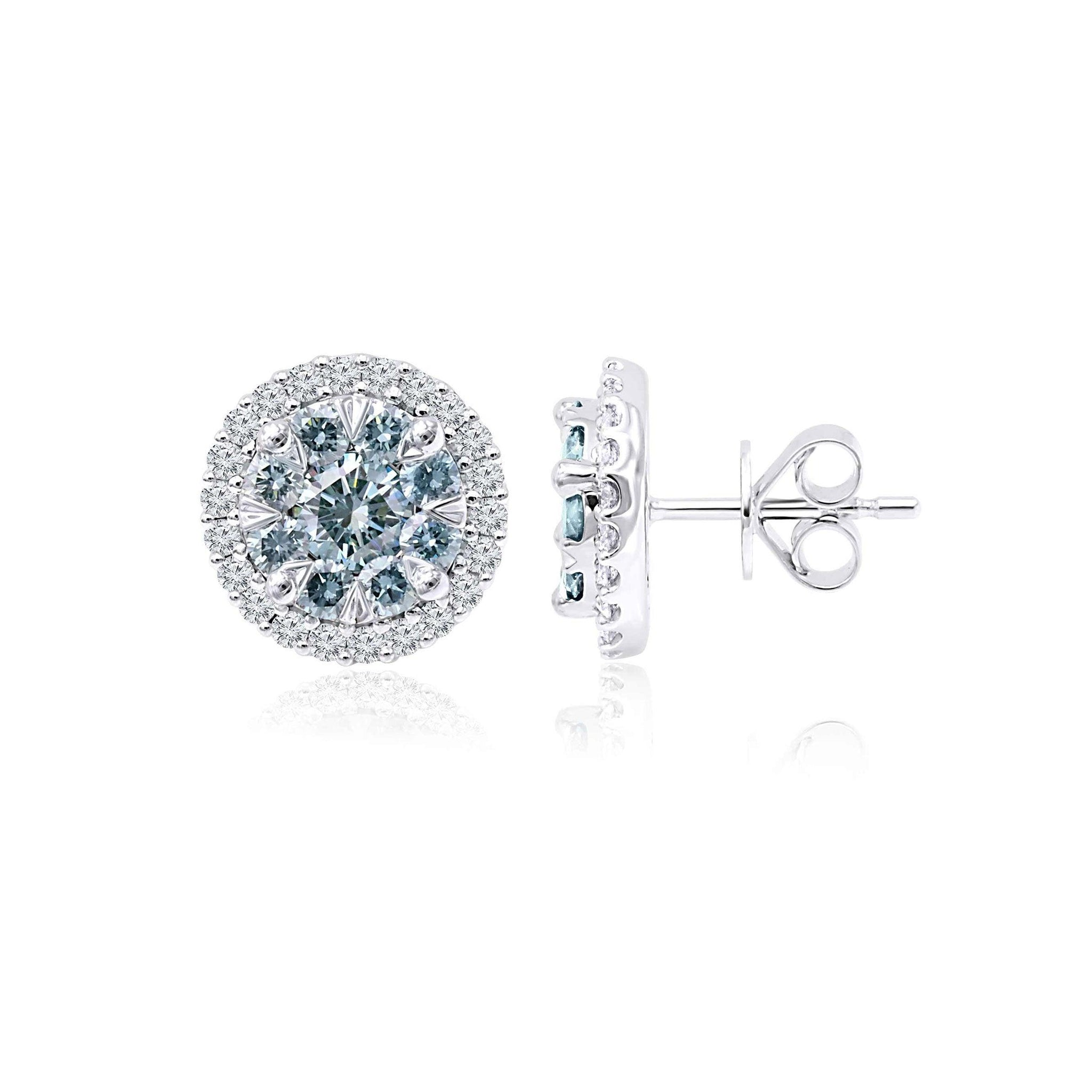 1.85 Ct. T.W. Ice Blue And White Lab Grown Diamond 14K White Gold Earrings