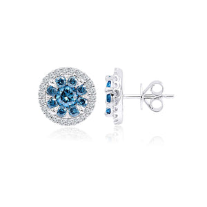 1.85 Ct. T.W. Royal Blue And White Lab Grown Diamond 14K White Gold Earrings