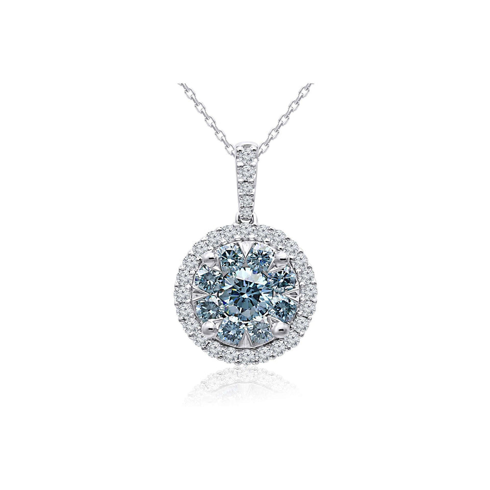 1.65 Ct. T.W. Ice Blue and White Lab Grown Diamond 14K White Gold Pendant