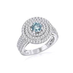 1 3/4 Ct. T.W. Lab-Grown Ice Blue And White Diamond 14K White Gold Ring