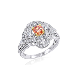 1 1/3 Ct. T.W. Lab-Grown Orange And White Diamond 14K White Gold Ring