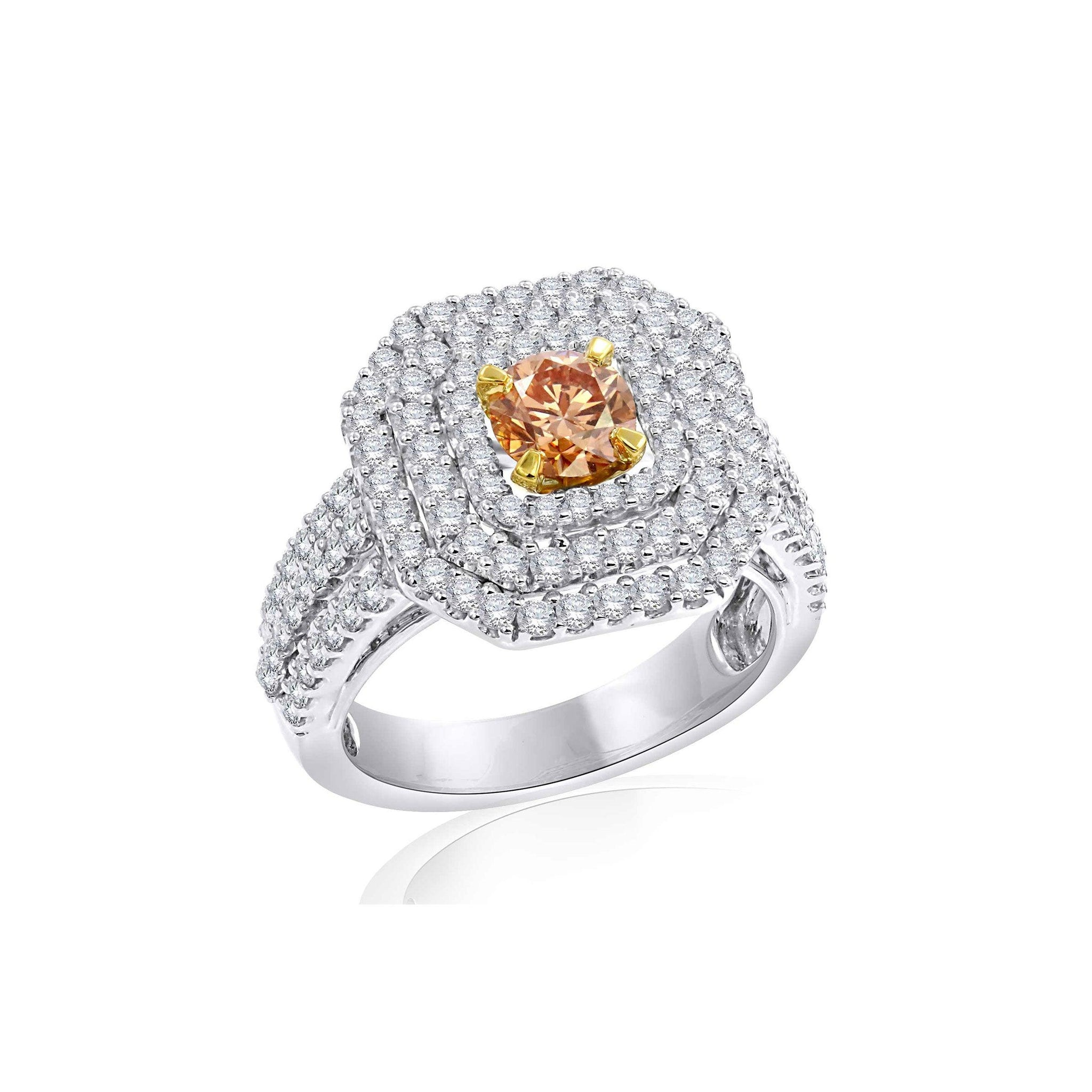 1.80 Ct. T.W. Lab-Grown Orange And White Diamond 14K White Gold Ring