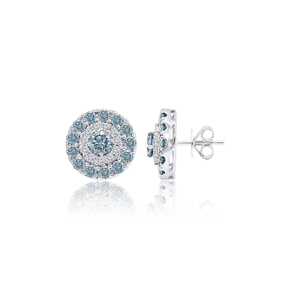 3 3/4 Ct. T.W. Ice Blue And White Lab-Grown Diamond Earrings 14K White Gold