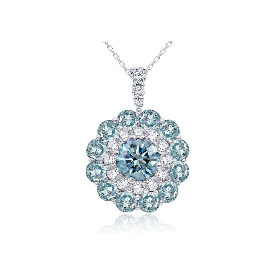 4.70 Ct. T.W. Ice Blue and White Lab Grown Diamond 14K White Gold Pendant