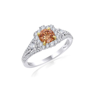 0.95 Ct. T.W. Lab-Grown Orange And White Diamond 14K White Gold Ring