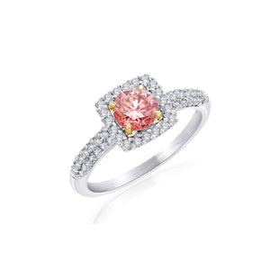 1.10 Ct. T.W. Lab-Grown Pink And White Diamond 14K White Gold Ring