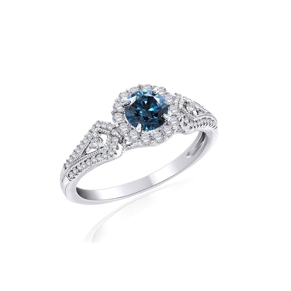 0.90 Ct. T.W. Lab-Grown Royal Blue And White Diamond 14K White Gold Ring