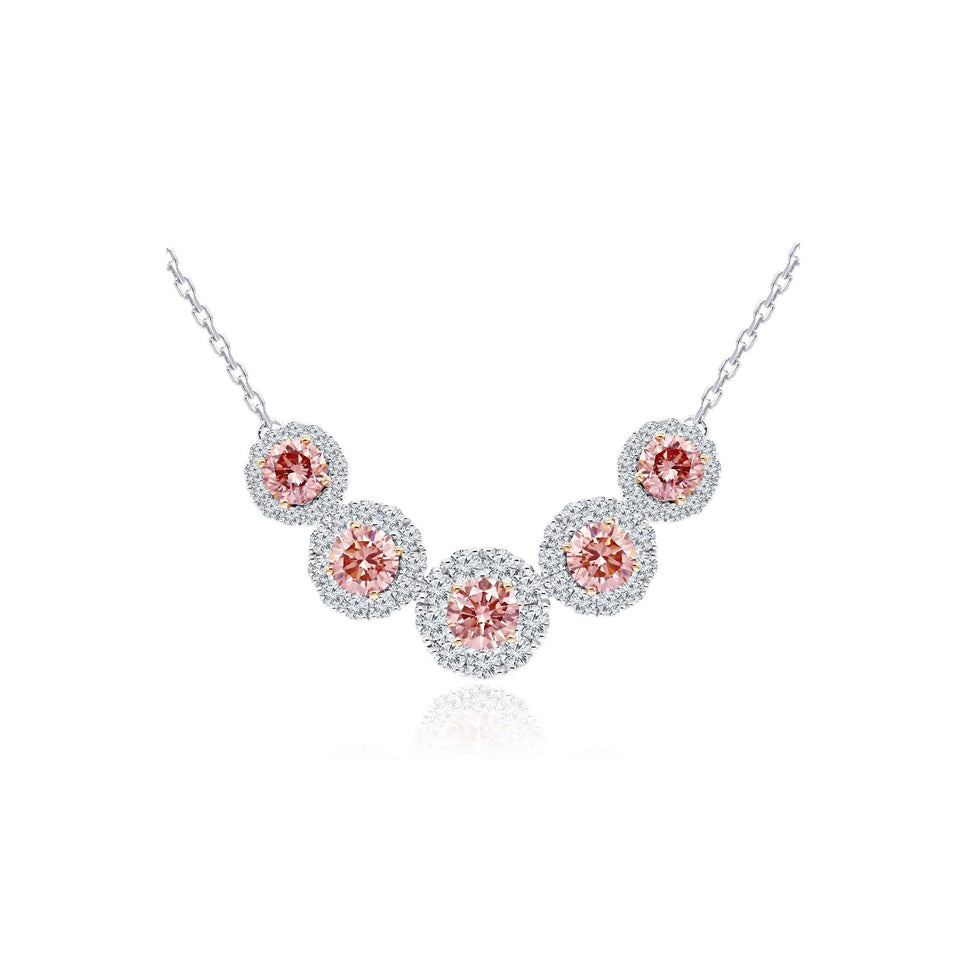 4.35 Ct. T.W. Pink and White Lab Grown Diamond 14K White Gold Necklace