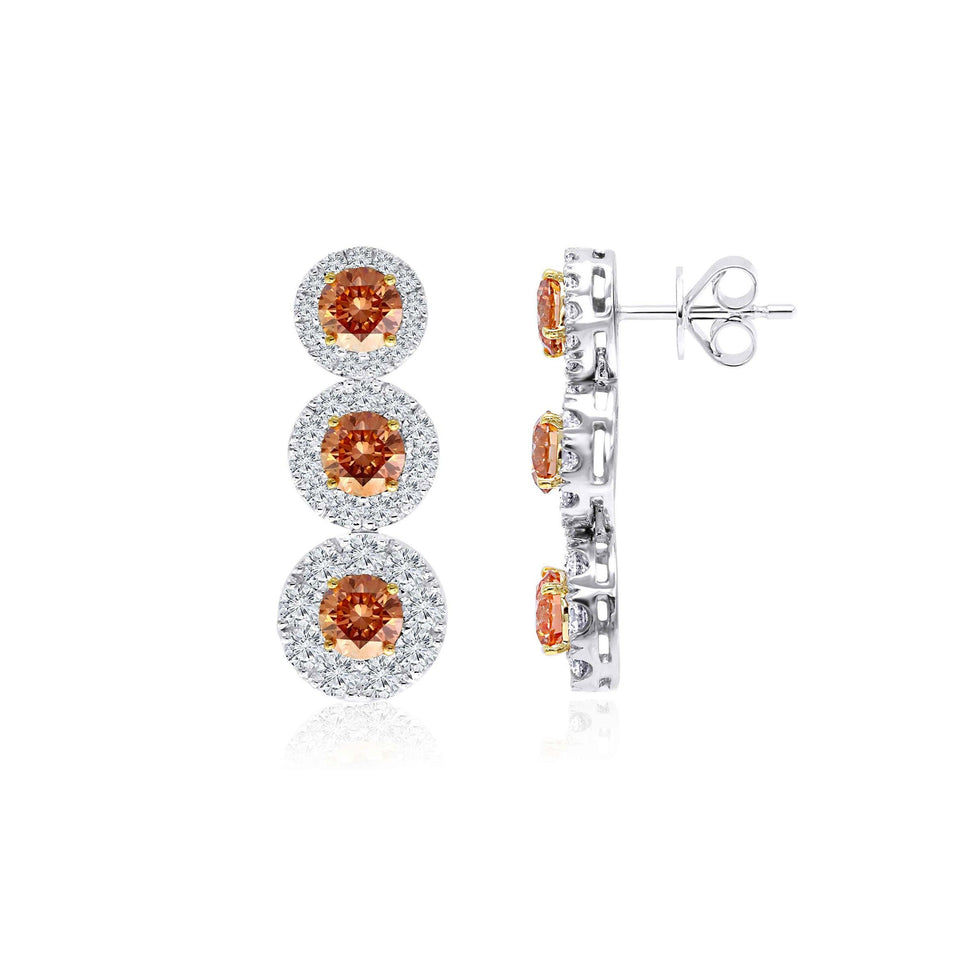 5 1/4 Ct. T.W. Orange And White Lab-Grown Diamond Earrings 14K White Gold