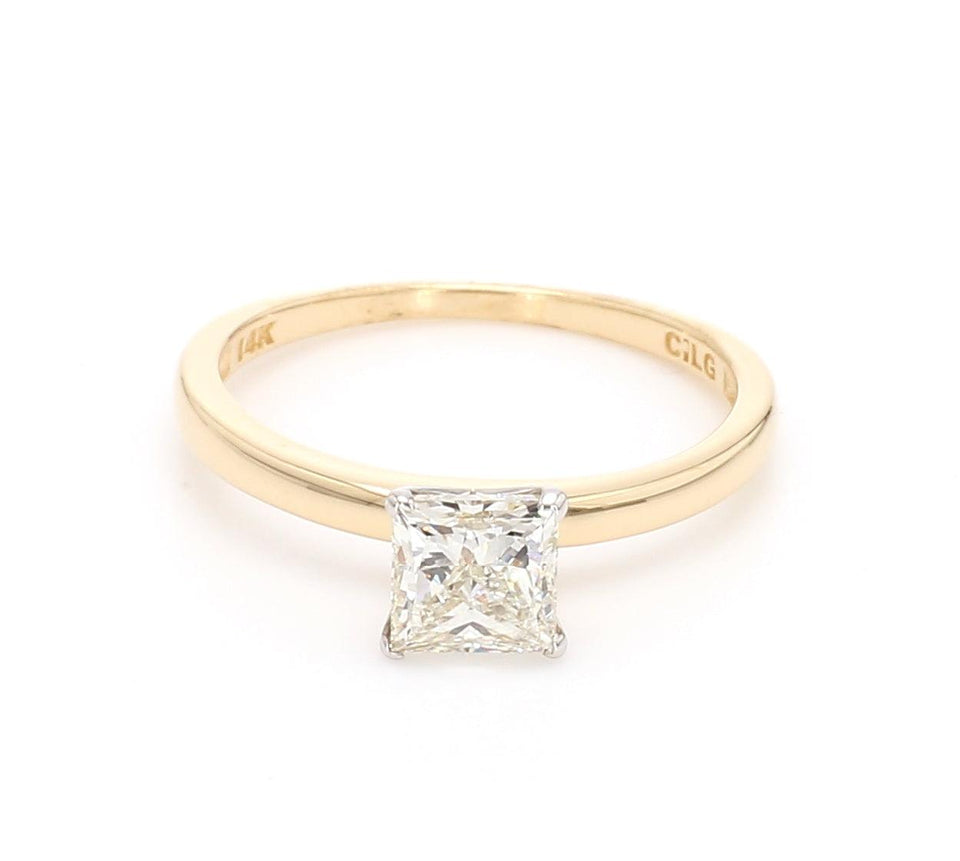 1.00 Carat Princess Cut Solitaire Lab-Grown Diamond 14K Gold Certified Ring*