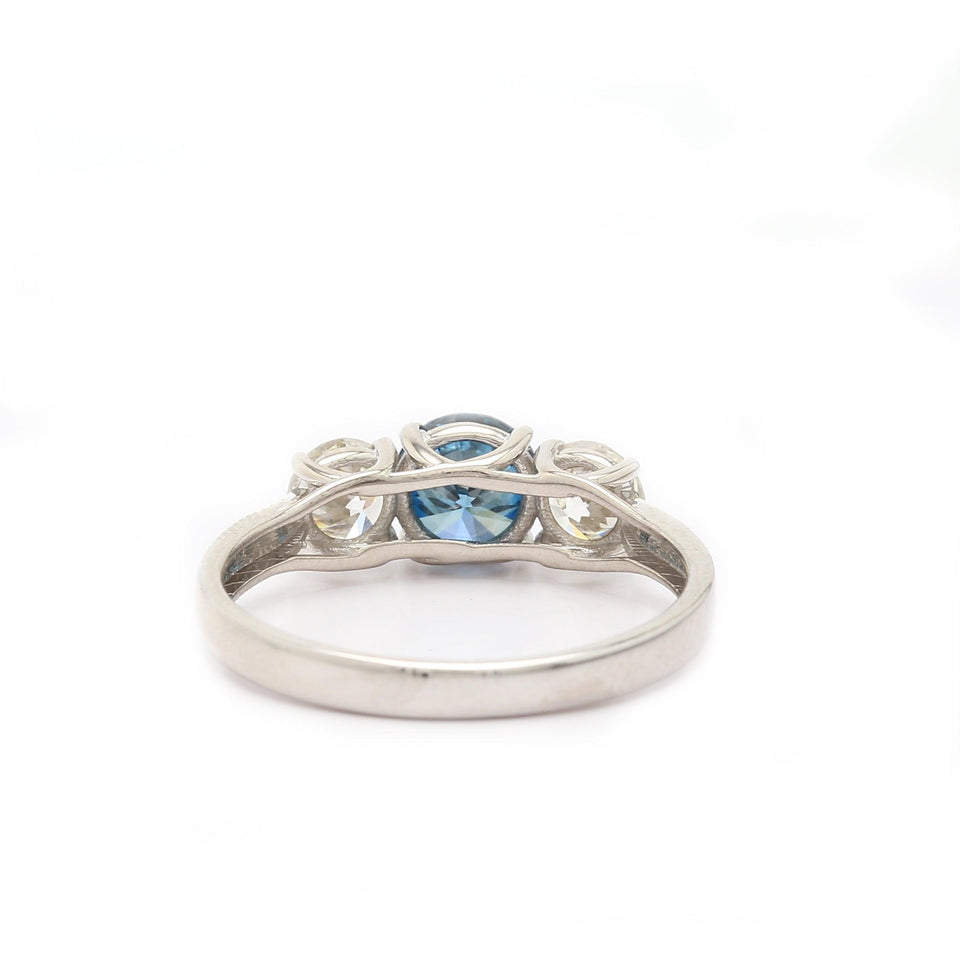 1 1/2 Ct. T.W. Blue and White Lab-Grown Diamond Ring 14K Gold
